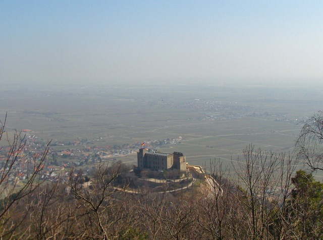 Blick hinab auf das Schloss Hambach