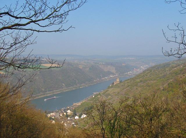 Blick auf Burg Gutenfels - weiter hinten liegt Oberwesel