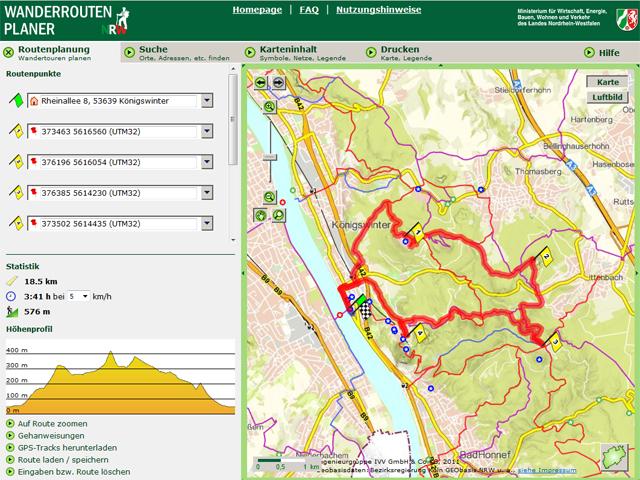 Wanderroutenplaner NRW Ergebnis