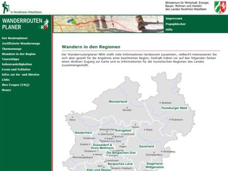 Wanderroutenplaner NRW Region