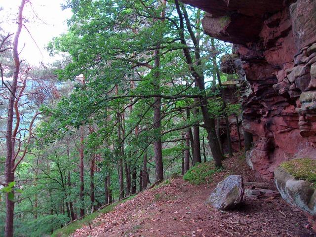 auf weichem Boden an den Buntsandsteinfelsen vorbei