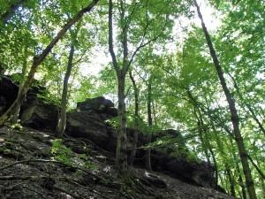Felsen oberhalb des Bachtals