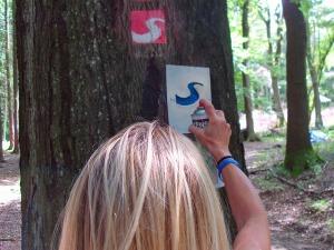 Sprühmarkierung auf dem Natursteig
